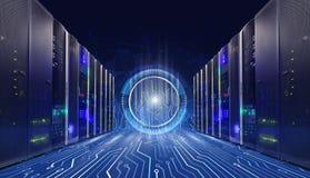 Informationstechnologiekonzept von großen Daten Serverraum mit Motherboardverbindungsstücken, Technologiehintergrund in der Mitte lizenzfreie stockfotografie