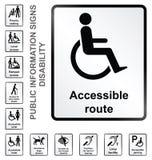 Informationstecken om handikapp Arkivbilder