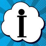 Informationstecken vektor Svart symbol i bubbla på blå pop-konst backgrou stock illustrationer