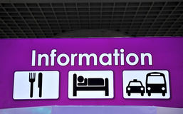 Informationstecknet, shoppar, restaurangen Arkivbild