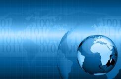 informationsteknik om jordklot för bakgrund blå Arkivbild