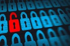 Informationstekniksäkerhetsbegrepp med systemet för öppet lås Royaltyfri Fotografi
