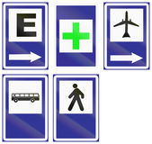 Informationsvägmärken i Uruguay Arkivfoton
