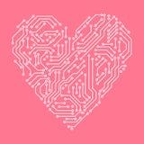 Informatique de rose de carte électronique et blanche de coeur de forme, vecteur illustration de vecteur