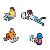 Informatique. Different people using computer in different situation, but always on the floor. Pixelart, but Stock Image