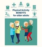 Informativ affischmall för pensionär dans stock illustrationer