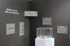 Informativ utställning, som täcker dödlighet i det 19th århundradet, tegelstenlagermuseet, Kennebunk, Maine, 2016 Arkivbilder