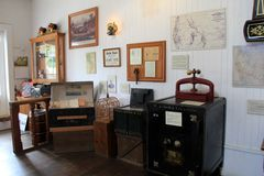 Historic image of what a typical general store might look like in the old days, Old Town, San Diego, California, 2017. Informative display showing items of Royalty Free Stock Images