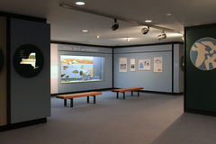 Informative display of tidal bays and marshes in New York State, State Museum,Albany,2016. Inviting exhibit covering tidal bays and marshes, with informative Royalty Free Stock Photography