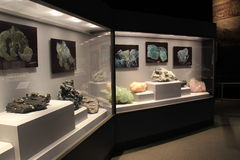 Informative exhibit covering history of the discovery of gemstones in New York, The State Museum, Albany, New York, 2016. Informative exhibit, with many glass Stock Image