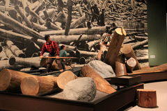 Informative exhibit covering history of log jamming in the Adirondacks,State Museum,Albany,New York,2016 Royalty Free Stock Photo