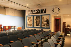 Informative exhibit of old TV`s and TV station, Baltimore Museum of Industry, Maryland, 2017. Fun and informative image of TV station with old TV`s and seating Stock Photos
