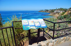 Informative placard in Heisler Park, Laguna Beach, CA Stock Photos
