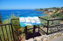 Informative placard in Heisler Park, Laguna Beach, CA stock photos