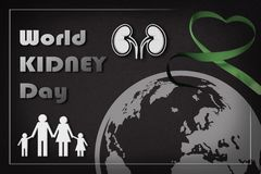 Informative poster of the world kidney day with ribbon family. Informative poster of the world kidney day with text, kidneys, family, world and green ribbon on Stock Photos
