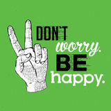 Informative Tablet Sign Poster. With phrase dont worry be happy on green background vector illustration Stock Images