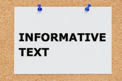 Informative Text concept. 3D illustration of INFORMATIVE TEXT on cork board Stock Photo