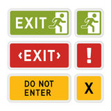 Informative vector signs. Exit sign. Order or attention signs. vector graphic Royalty Free Stock Images