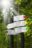 Informazione turistica sull'itinerario della montagna, distanza, tempo Fotografia Stock Libera da Diritti