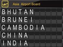 Informazioni del bordo dell'aeroporto del paese dell'Asia Fotografia Stock