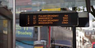 Informazioni del bus di Londra Fotografia Stock