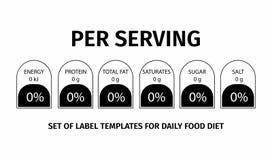 Informazioni di fatti di nutrizione Modello per informazioni sulla quantità di grassi, calorie, carboidrati royalty illustrazione gratis