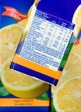 Informazioni di nutrizione Fotografia Stock