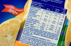 Informazioni di nutrizione Immagini Stock