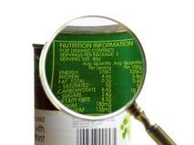 Informazioni di nutrizione Immagine Stock