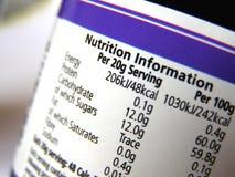 Informazioni di nutrizione sul contrassegno Immagini Stock