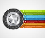 Informazioni di protezione Infographics sicuro di concetto di progetto della serratura di combinazione illustrazione vettoriale