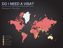 Informazioni di visti per il regno del passaporto del Bhutan Fotografie Stock