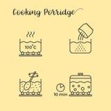 Informazioni grafiche di cottura del porridge in vaso Fotografia Stock