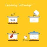Informazioni grafiche di cottura del porridge in vaso per gradi Fotografia Stock Libera da Diritti