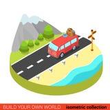 Informazioni sul turismo isometriche piane della strada di 3d hippie van mountain Fotografie Stock