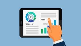 Informe analítico del gráfico del negocio sobre la tableta ilustración del vector