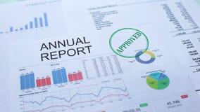 Informe anual aprobado, mano que sella el sello en el documento oficial, estadísticas metrajes