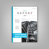 Informe anual azul Molde do folheto do folheto projeto do tamanho a4 Projeto da disposição da capa do livro Tampa minimalistic ab Foto de Stock
