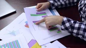 Informe anual de Checking Budget And da mulher de negócios video estoque