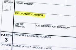 Informe de accidente de tráfico Imagen de archivo libre de regalías