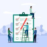 Informe de la encuesta, lista de control, cuestionario, ejemplo del vector del concepto del negocio libre illustration