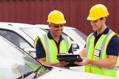 Informe de los vehículos de los trabajadores Imagen de archivo