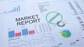Informe de mercado aprobado, mano que sella el sello en el documento oficial, estadísticas almacen de video