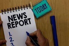 Informe de noticias del texto de la escritura de la palabra Concepto del negocio para la cuenta hablada o escrita algo que una ha imagen de archivo