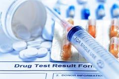 Informe de prueba de droga Fotos de archivo