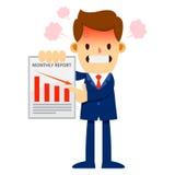 Informe de ventas enojado de Showing Declining Monthly del hombre de negocios Imagenes de archivo