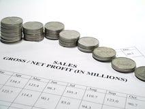 Informe del crecimiento de dinero Fotos de archivo