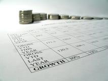 Informe del crecimiento de dinero Imagenes de archivo