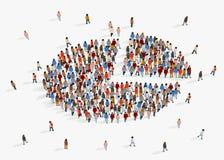 Informe del demographics de la poblaci?n, gr?fico de sectores integrado por gente ilustración del vector