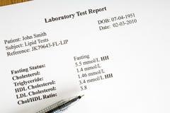 Informe del laboratorio del colesterol Imagen de archivo libre de regalías
